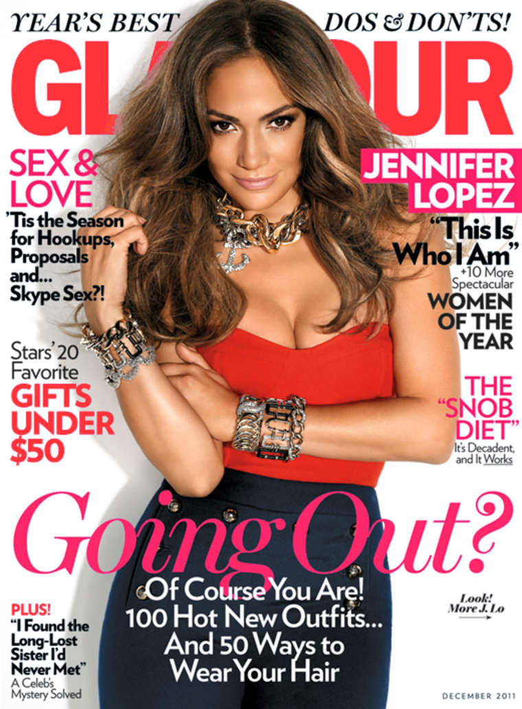 Editorial Glamour Makeup Professional Makeup Artist: Jennifer Lopez Covers Glamour Magazine December 2011