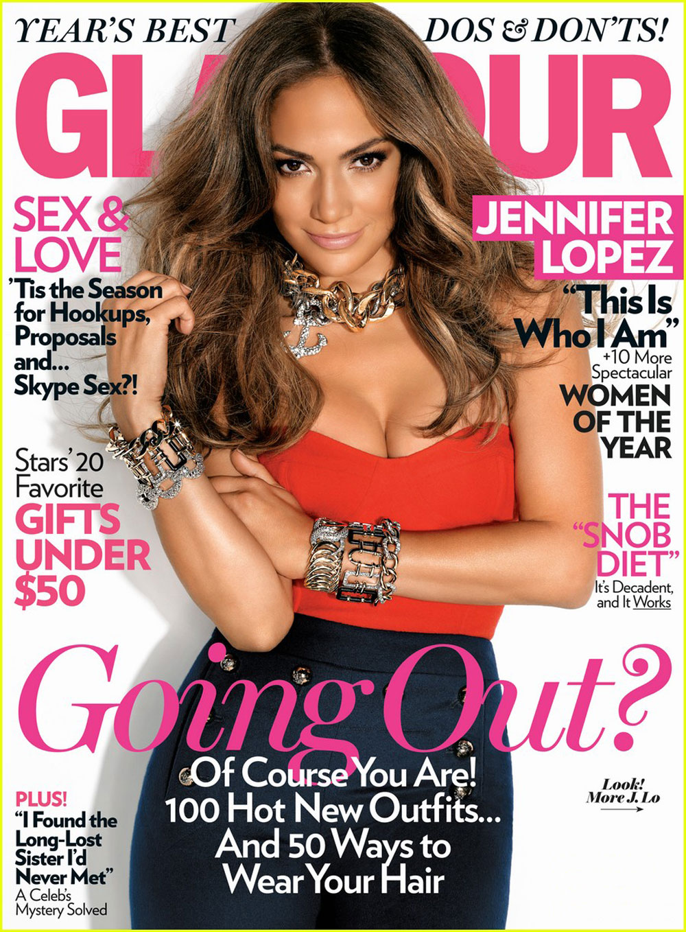 Editorial Glamour Makeup Professional Makeup Artist: Jennifer Lopez In Glamour Magazine, December 2011 Issue
