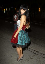Bai Ling Dancing on the Street Outside Hyde Lounge Bar
