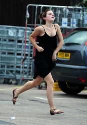 Emma Watson Leggy Candids Running in Black Dress
