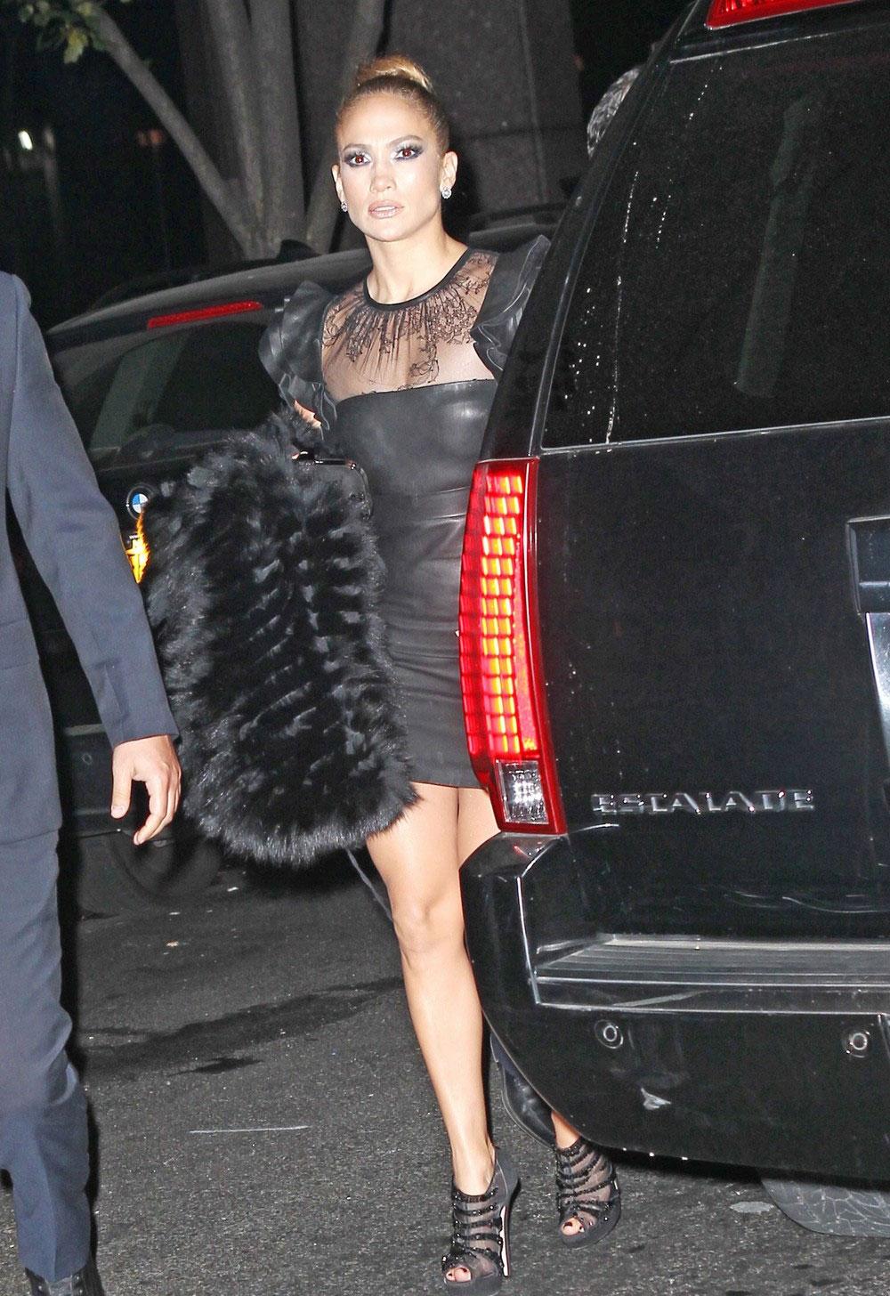 jennifer lopez in black leather mini dress at the glamour