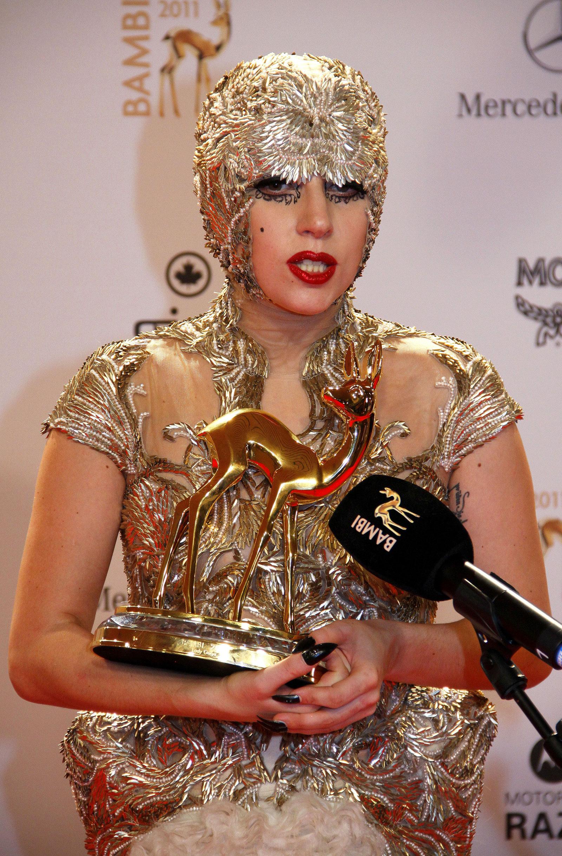 Lady Gaga In Gold Alexander Mcqueen At Bambi Media Awards