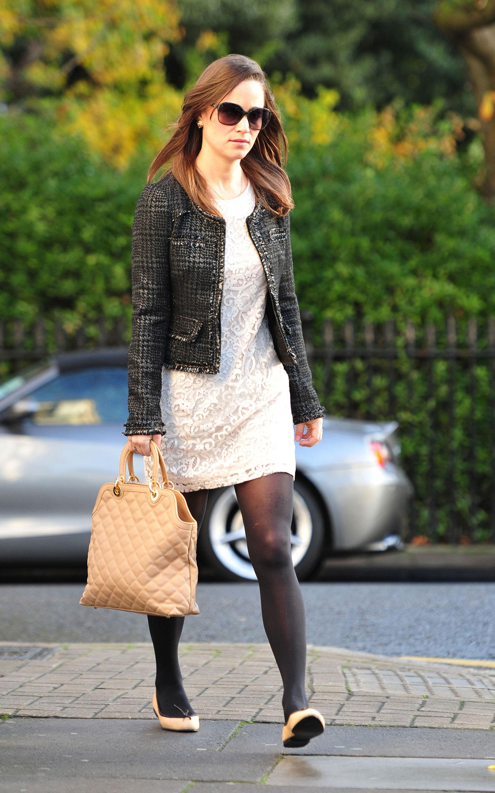 pippa middleton leggy in white dress heading to work