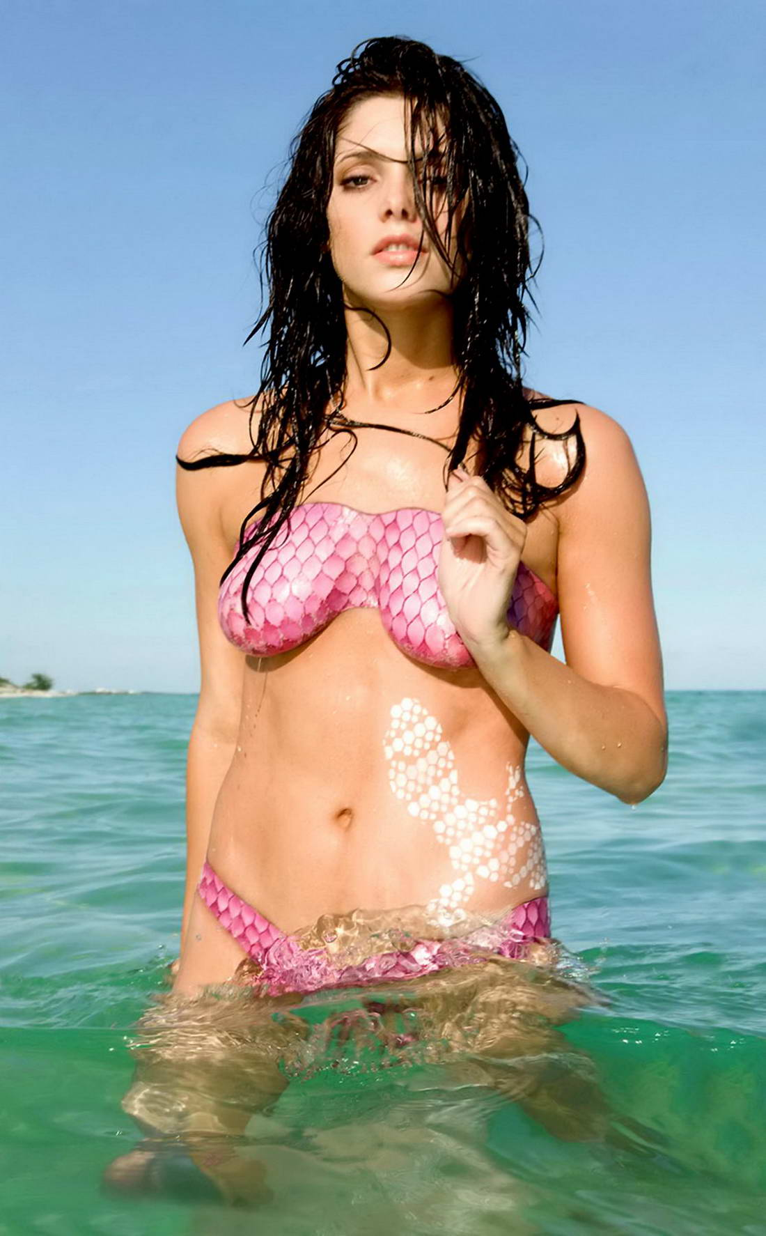 Ashley Greene Sobe pink bodypaint bikini