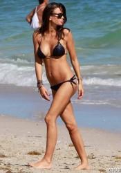 Claudia Galanti in Hot Black Bikini Candids at Miami Beach