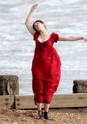 Gemma Arterton Cleavy On The Set of Byzantium