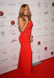 Mariah Carey in Red Hot Dress Arrives at Noble Gift Gala in London