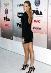 Stacy Keibler in Mini Black Dress Arrives at Spike TV's 2011 Video Game Awards in Los Angeles