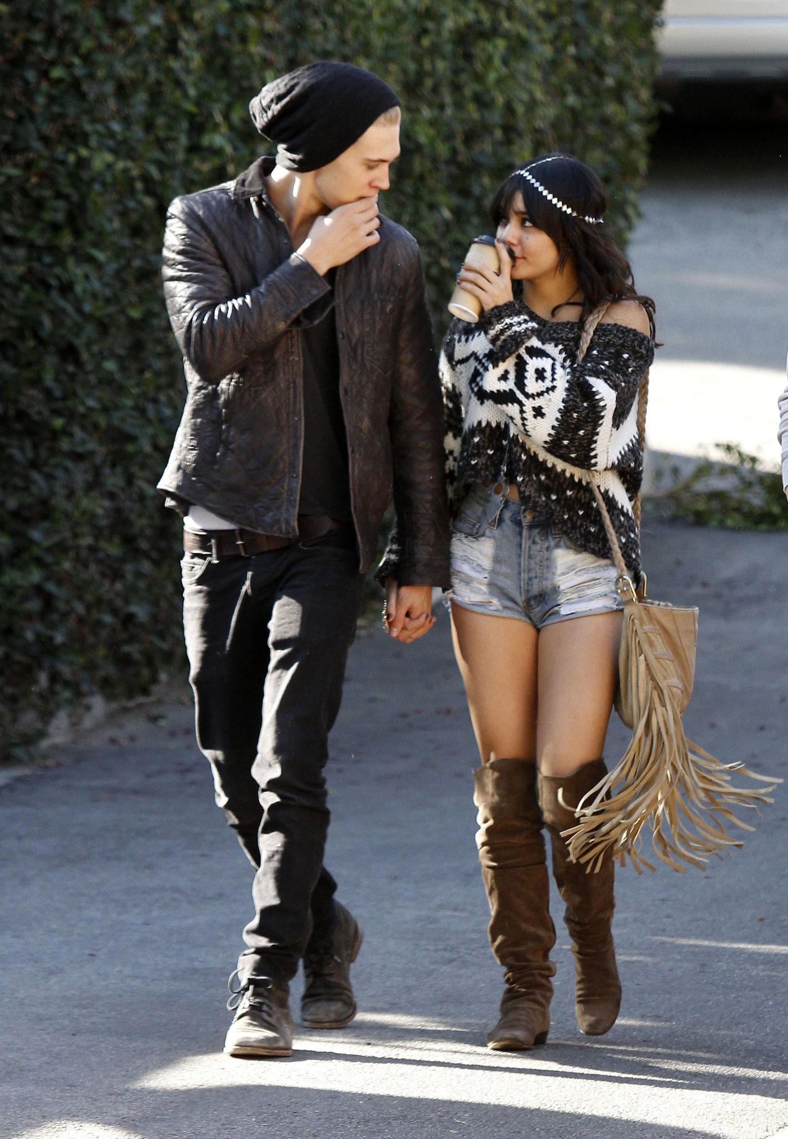 Vanessa Hudgens in Knee Botts with New Boyfriend in Los