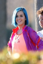 katy perry filming a commercial for adidas in santa