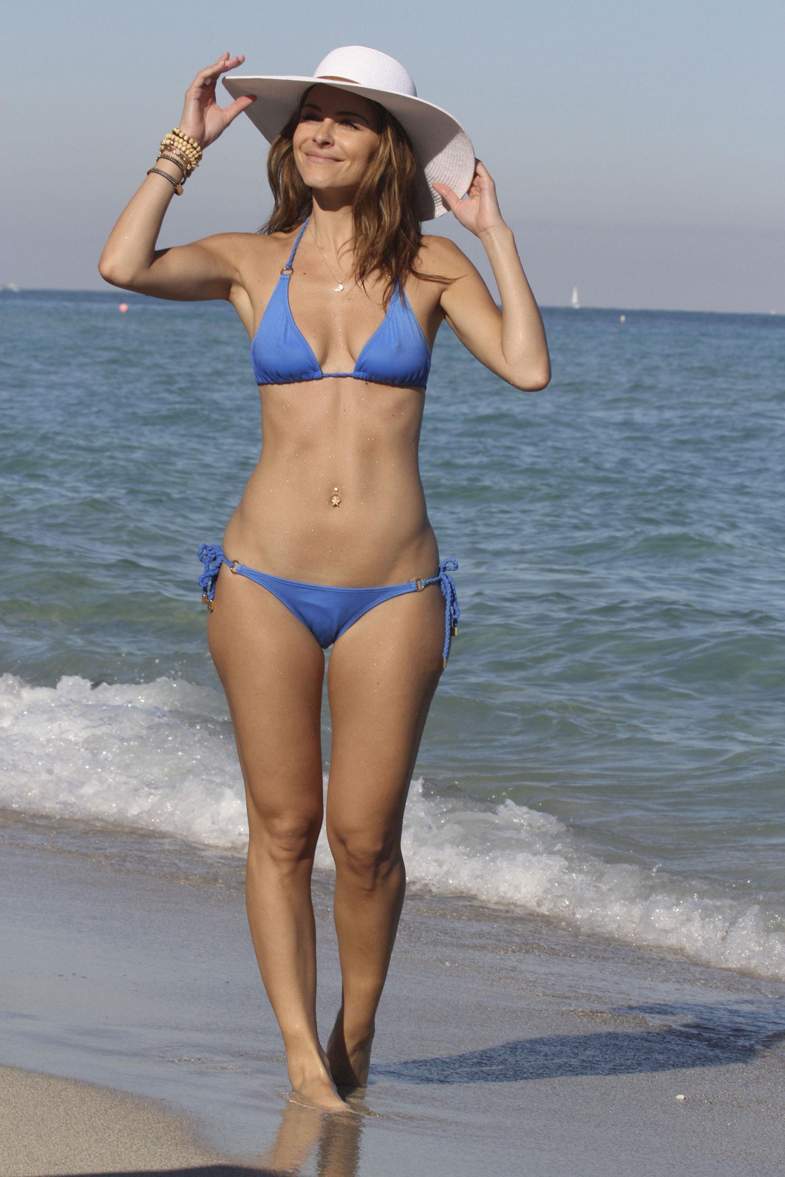 Maria Menounos in Blue Bikini at the Beach in Miami 111