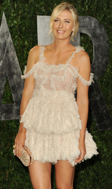 Maria Sharapova at 2012 Vanity Fair Oscar Party at Sunset Tower ...