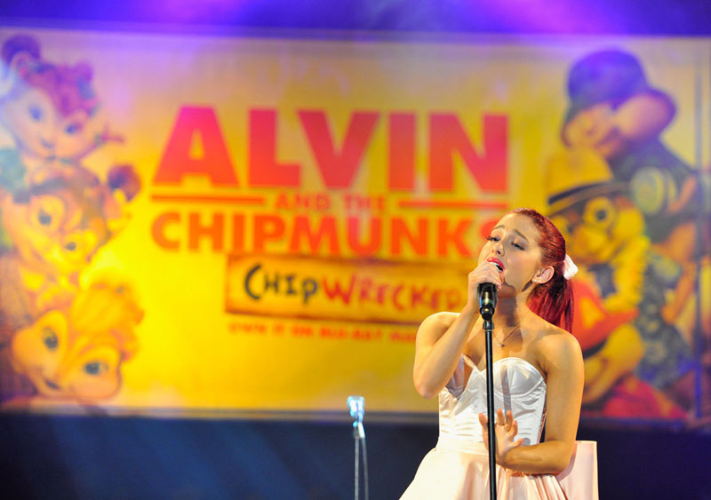 ariana grande at the alvin and the chipmunks chipwrecked dvd release