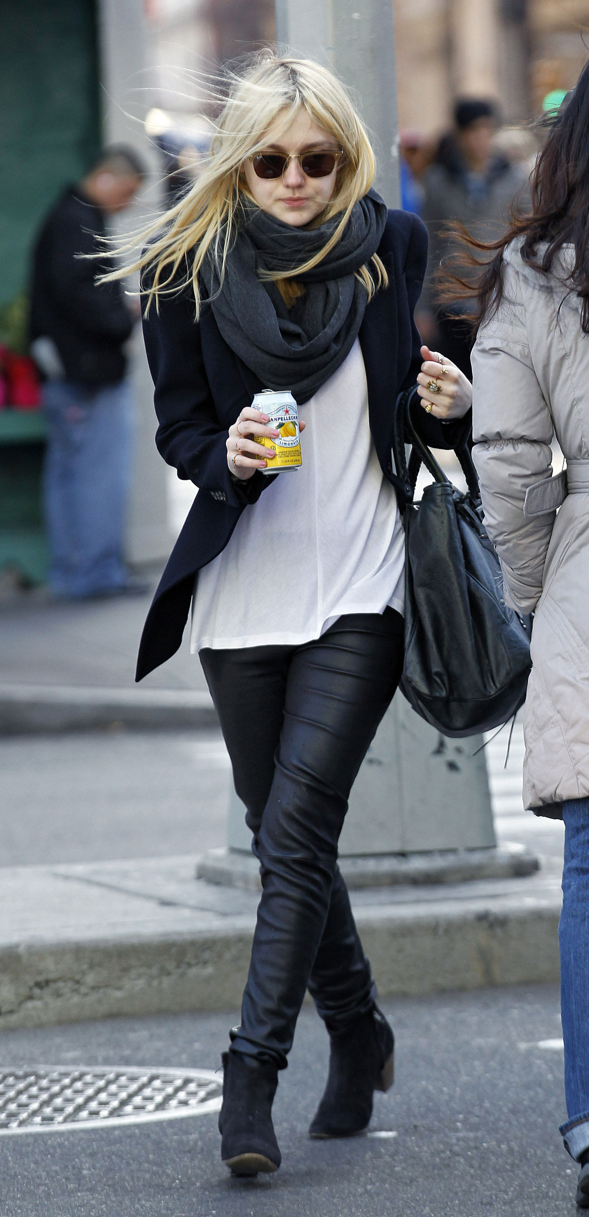Dakota Fanning In Leather Pants Out And About In New York