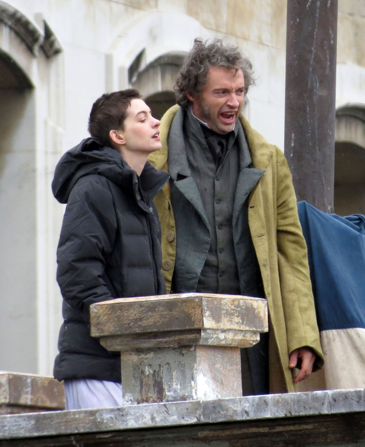 ANNE HATHAWAY On The Set Of Les Misérables In London