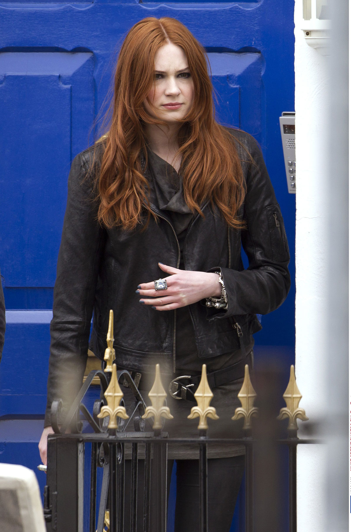 KAREN GILLAN at the Set of Doctor Who in Cardiff - HawtCelebs