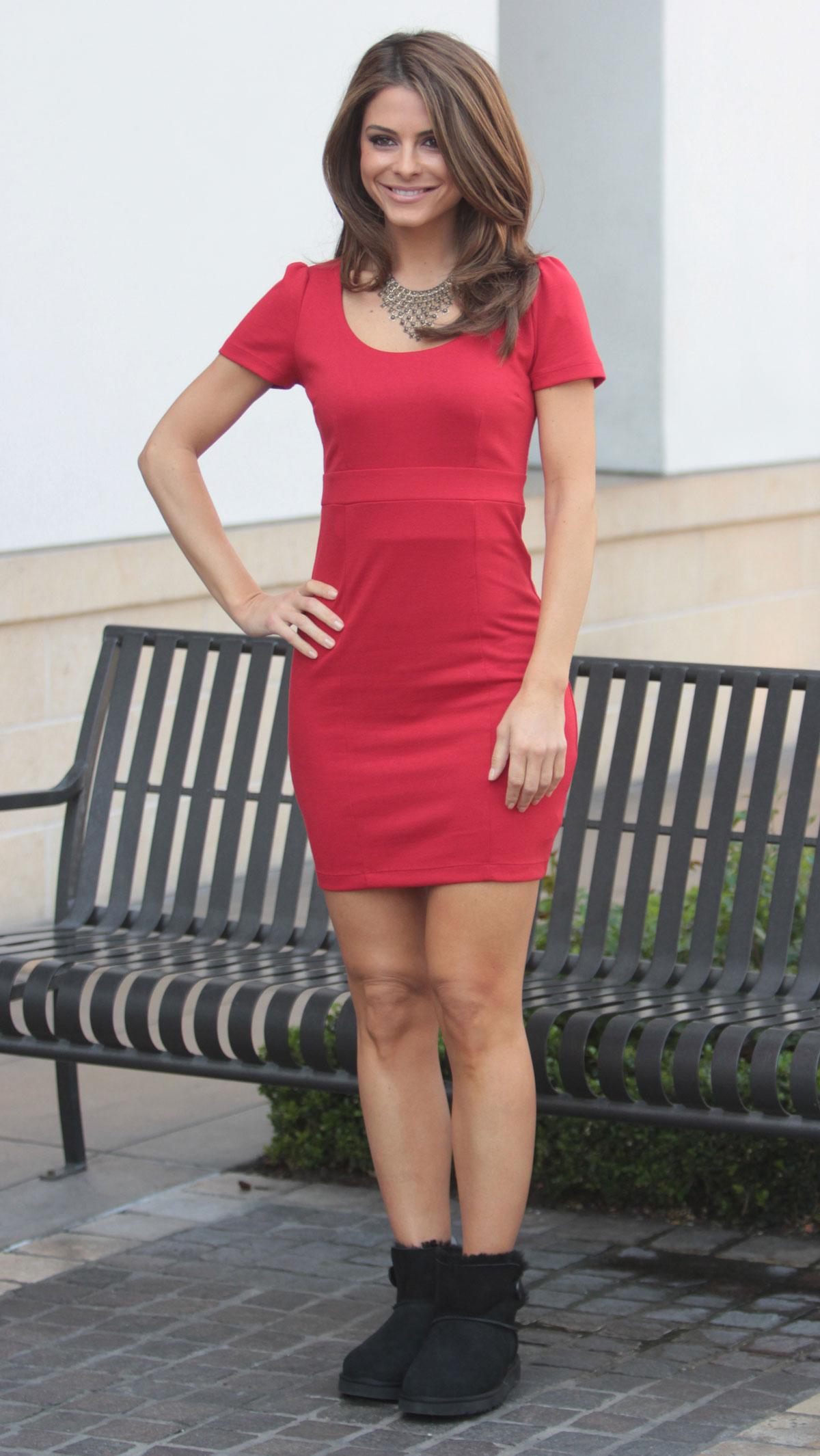 Haruno Sexy Model Maria Menounos Photo Shoot In Red Dress