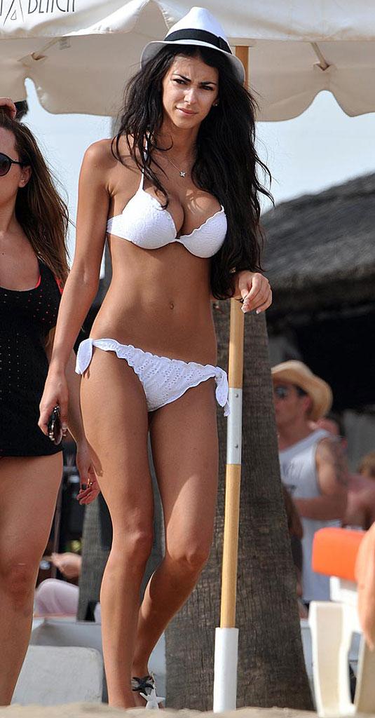 GEORGIA SALPA in White Bikini at Marbella in Spain