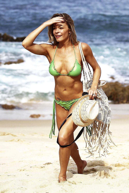 Leann Rimes In Green Bikini On The Beach In Cabo San Lucas -4075