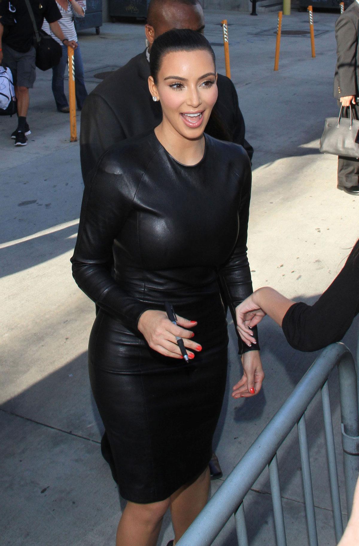 Kim Kardashian In Black Leather Dress In Hollywood