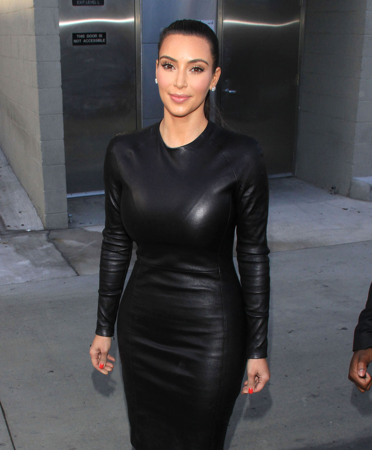 Kim Kardashian In Black Leather Dress In Hollywood