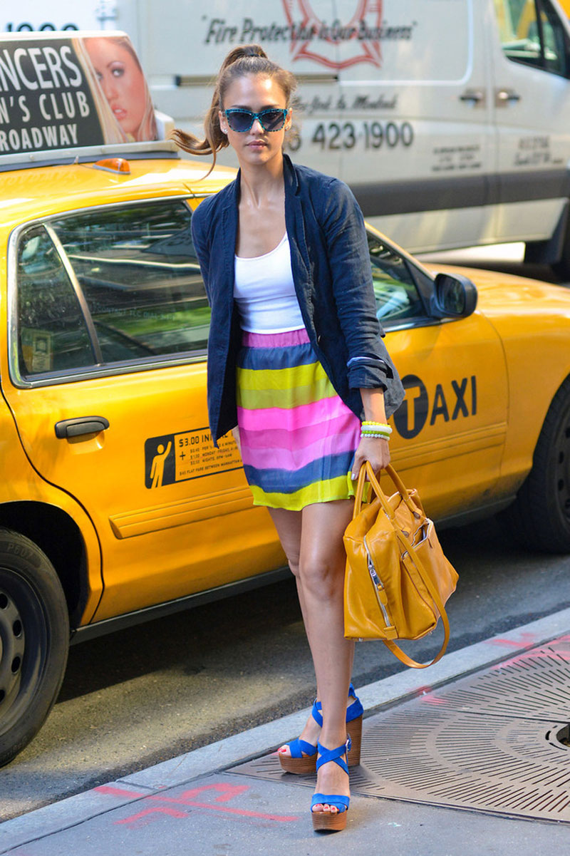 Jessica alba in candy coloured striped skirt  elle laurie skirt and marc jacobs bag
