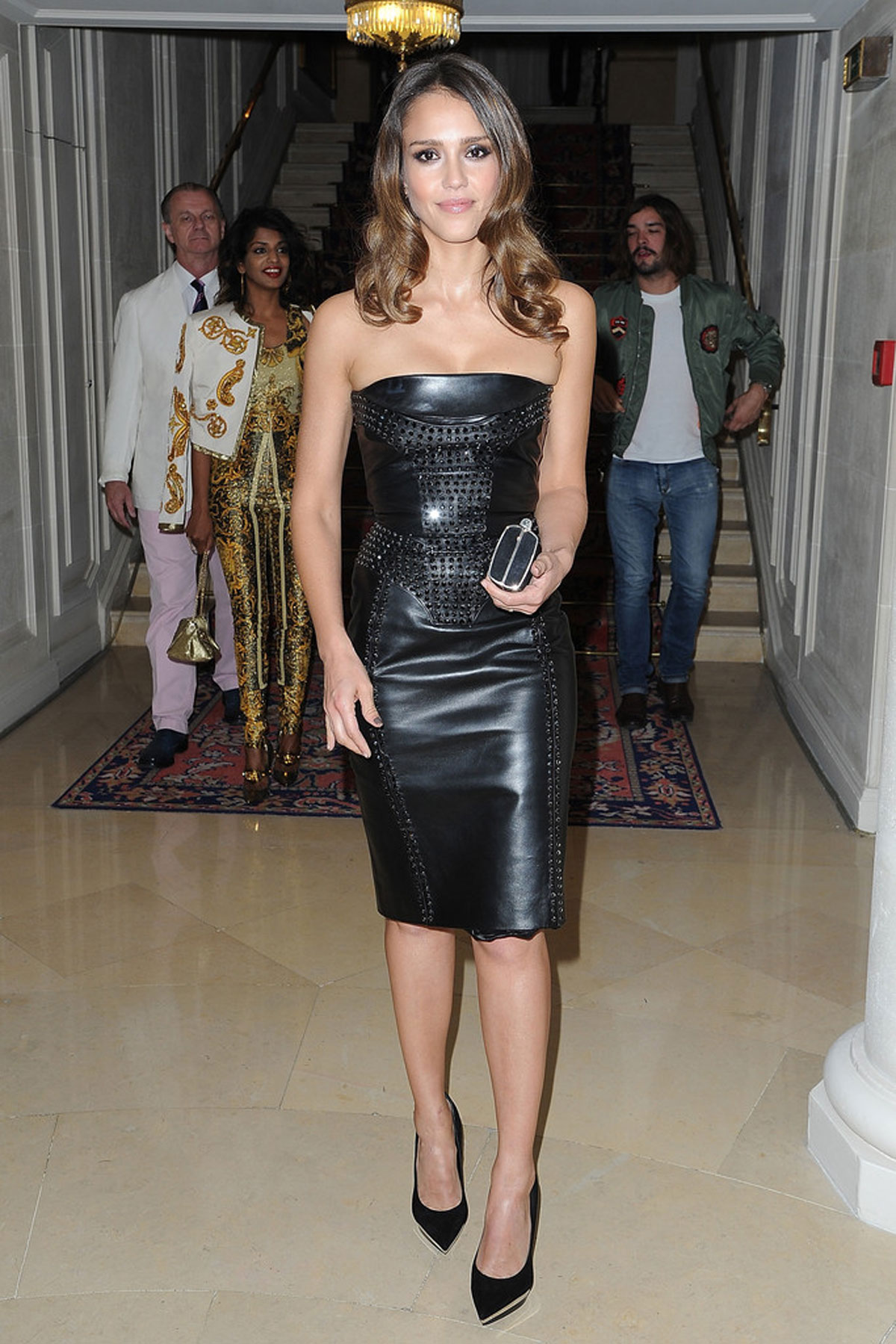 Jessica Alba At Versace Fashion Show In Paris Hawtcelebs