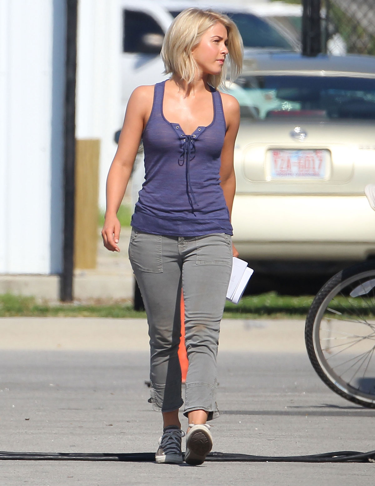 JULIANNE HOUGH in Purple Top on the Set of Safe Haven ...