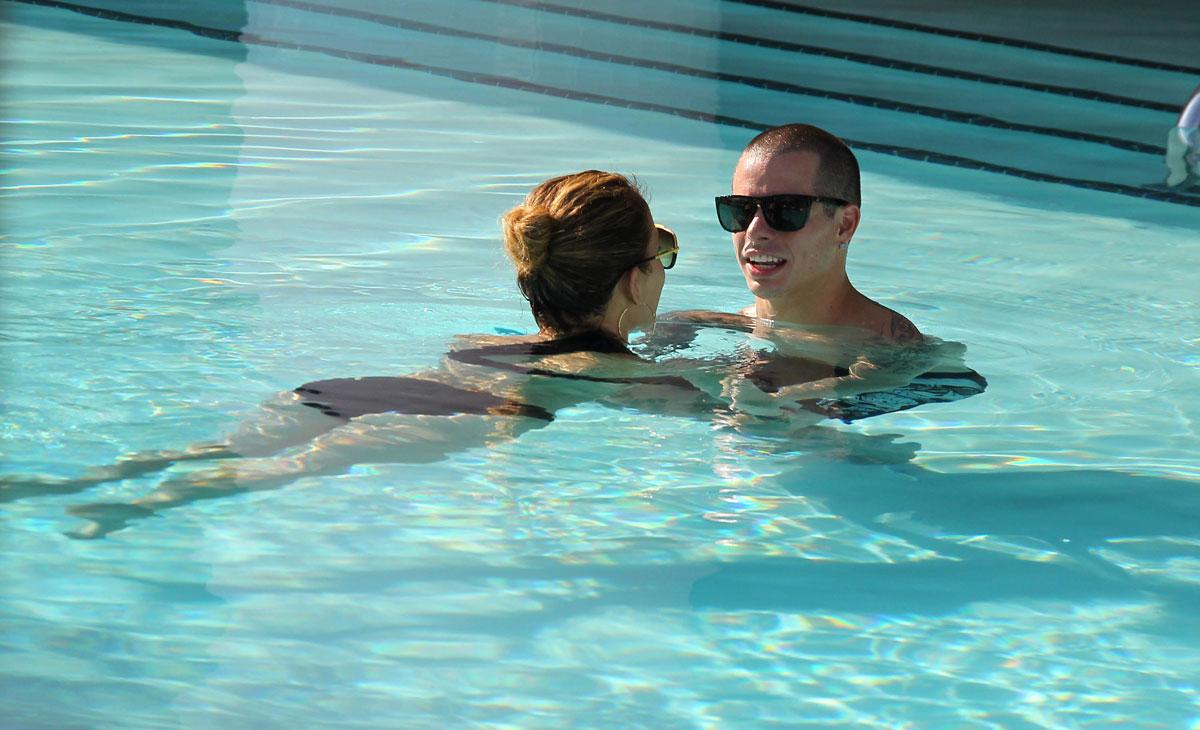 Jennifer Lopez In Black Bikini At A Hotel Pool In Miami