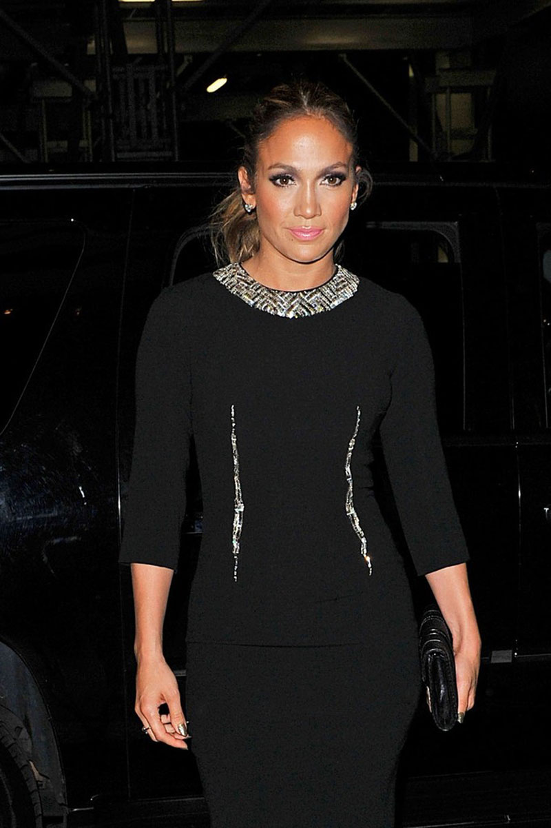 Jennifer Lopez In Tight Black Dress Out For Dinner In New