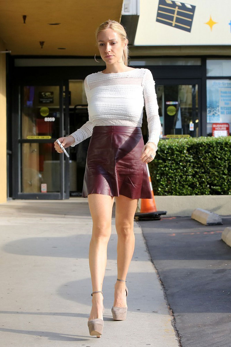 KRISTIN CAVALLARI in Short Skirt Out and About in Hollywood ...