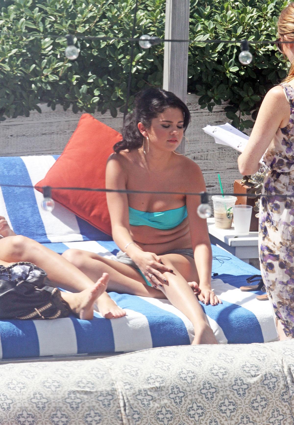 Selena gomez blue bikini 1