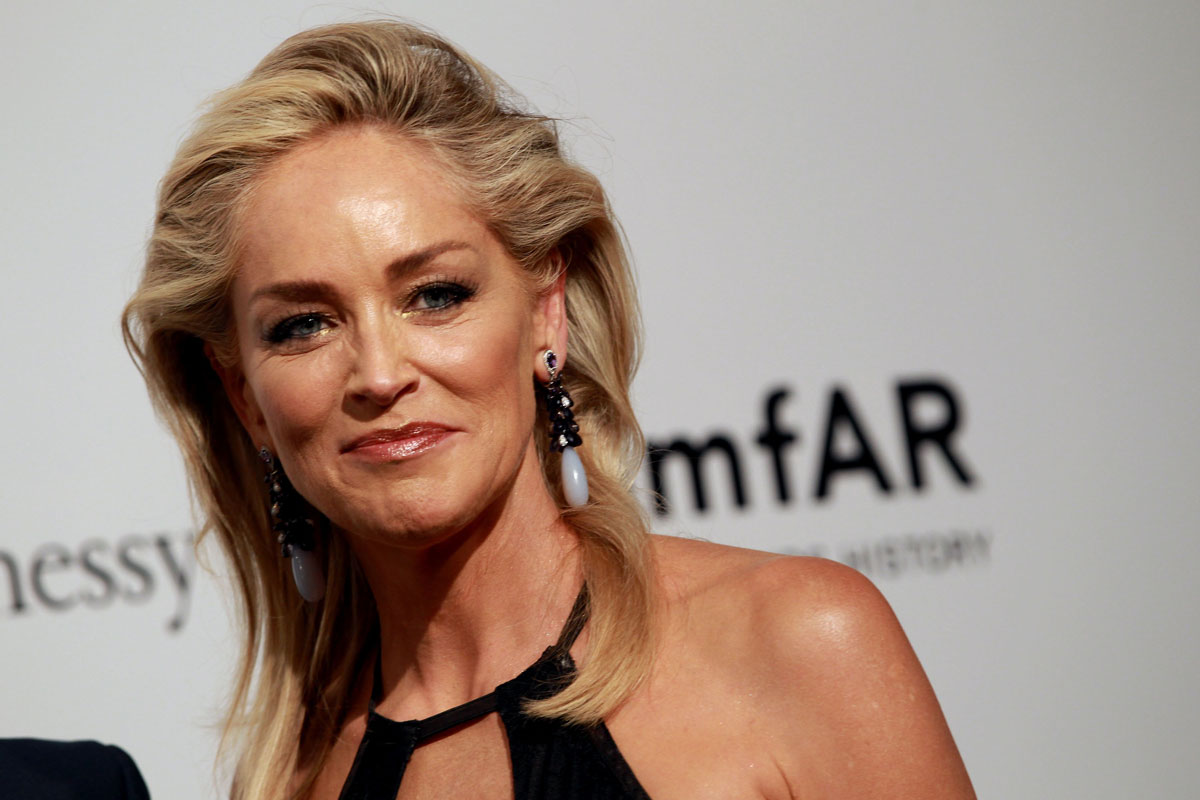 SHARON STONE At AmfAR Milano 2012 Milan Fashion Week