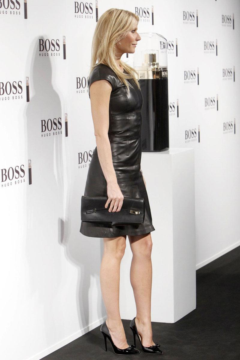 Gwyneth Paltrow In Black Leather Dress At Hugo Boss Show