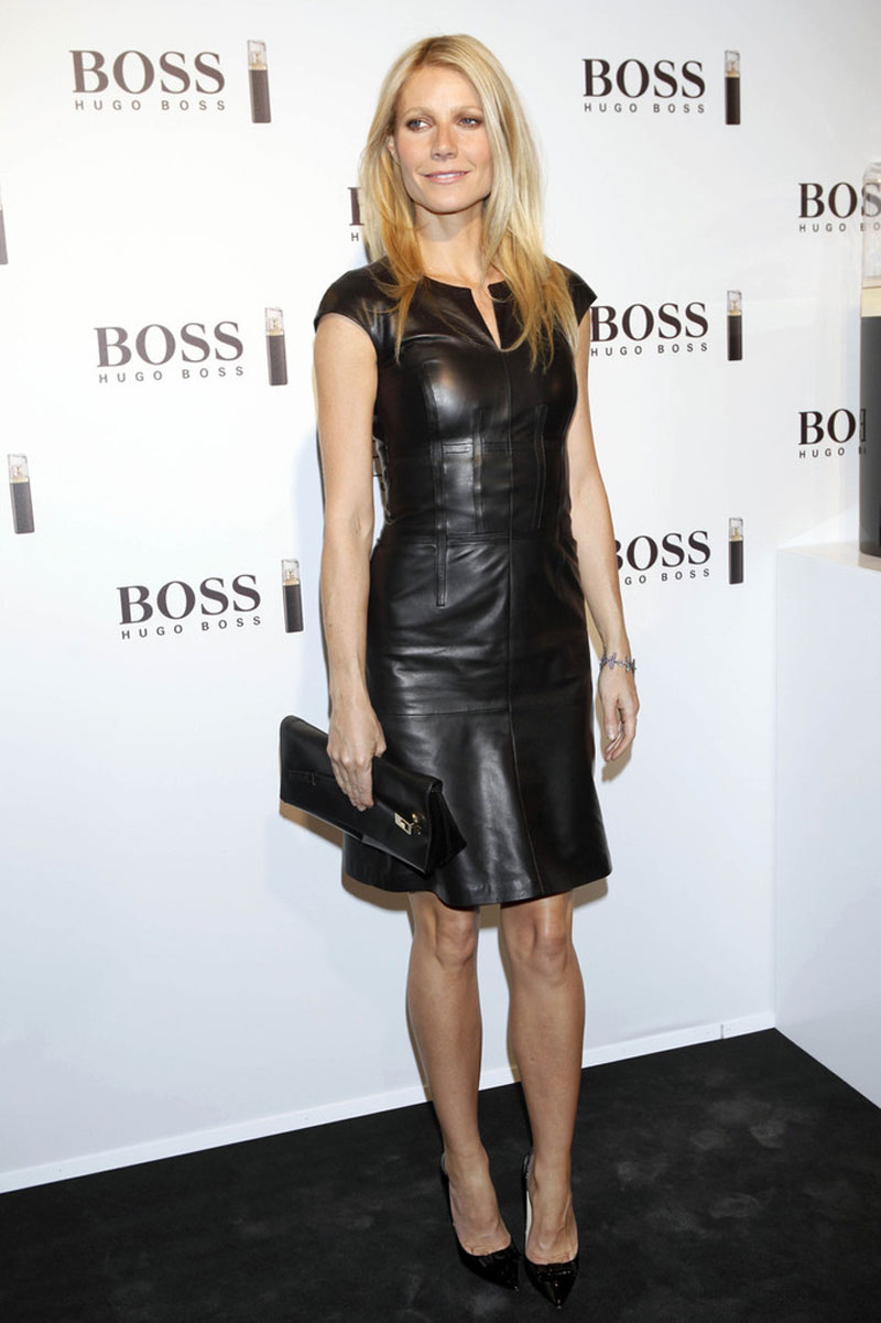 GWYNETH PALTROW in Black Leather Dress at Hugo Boss Show - HawtCelebs ...