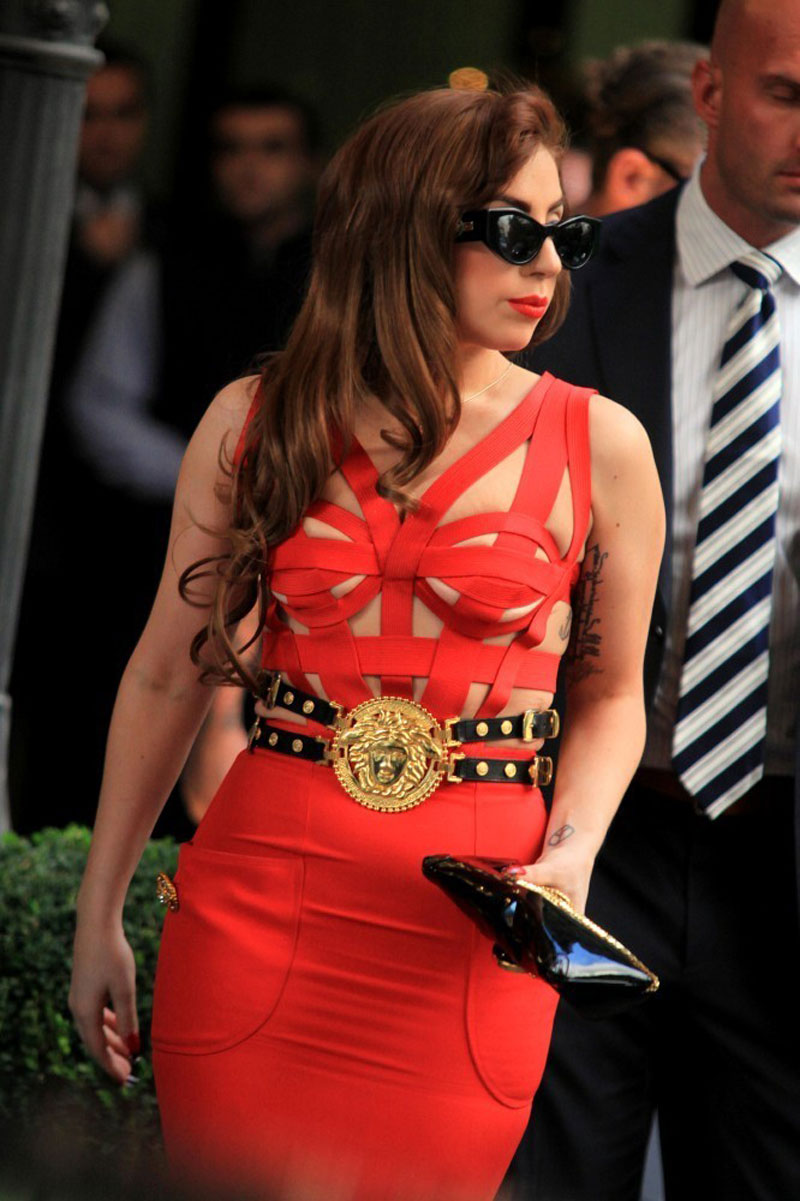 H and m versace red dress