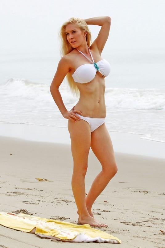 HEIDI MONTAG in White Bikini at a Beach in Santa Monica