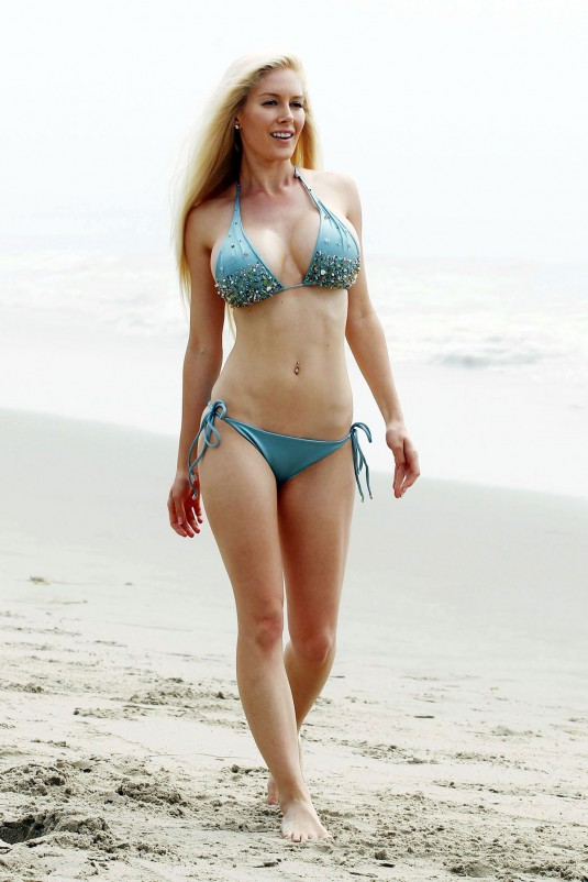 HEIDI MONTAG in a Blue Bikini on the Beach in California