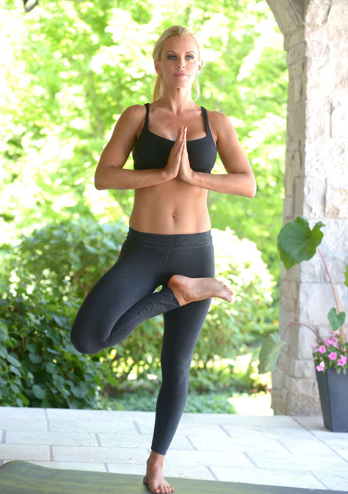 JENNY McCARTHY in Tights Exercising at Her Home in Chicago ...