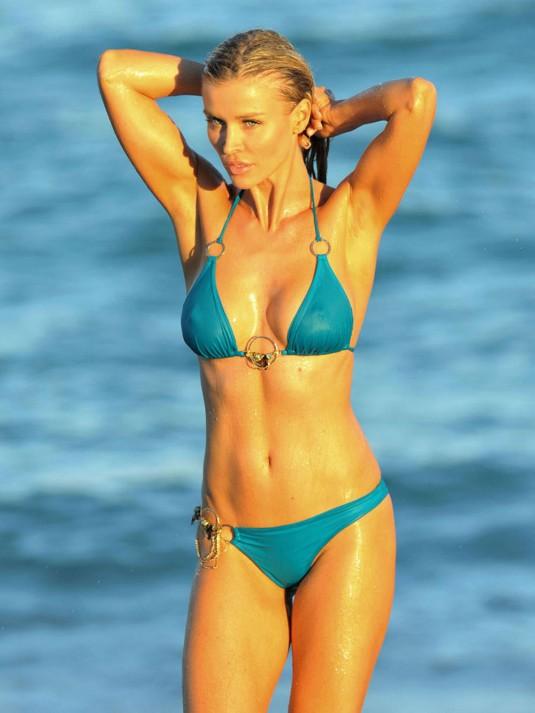 JOANNA KRUPA in a Blue Bikini on the Beach in Miami