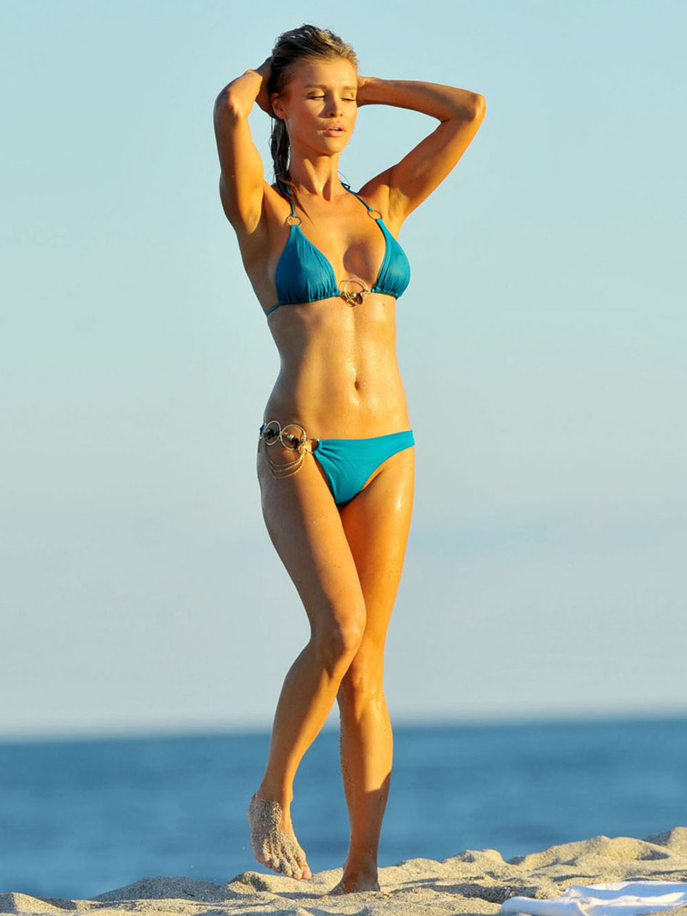 JOANNA KRUPA in a Blue Bikini on the Beach in Miami ...