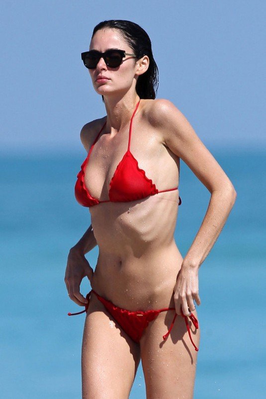 NICOLE TRUNFIO in Red Bikini at a Beach in Miami