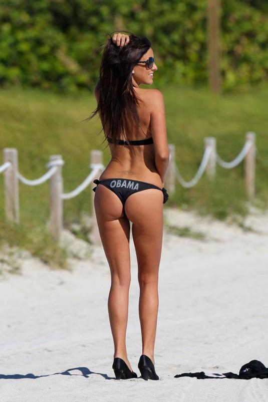 CLAUDIA ROMANI in an Obama Bikini on the Beach of Miami