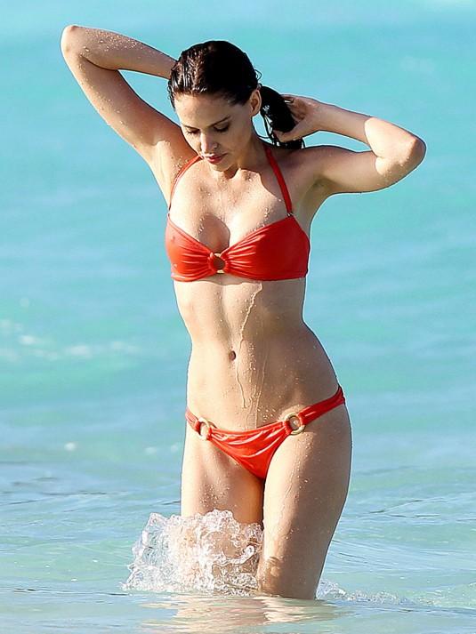 HANA NITSCHE in Red Bikini on the Beach in St. Barts