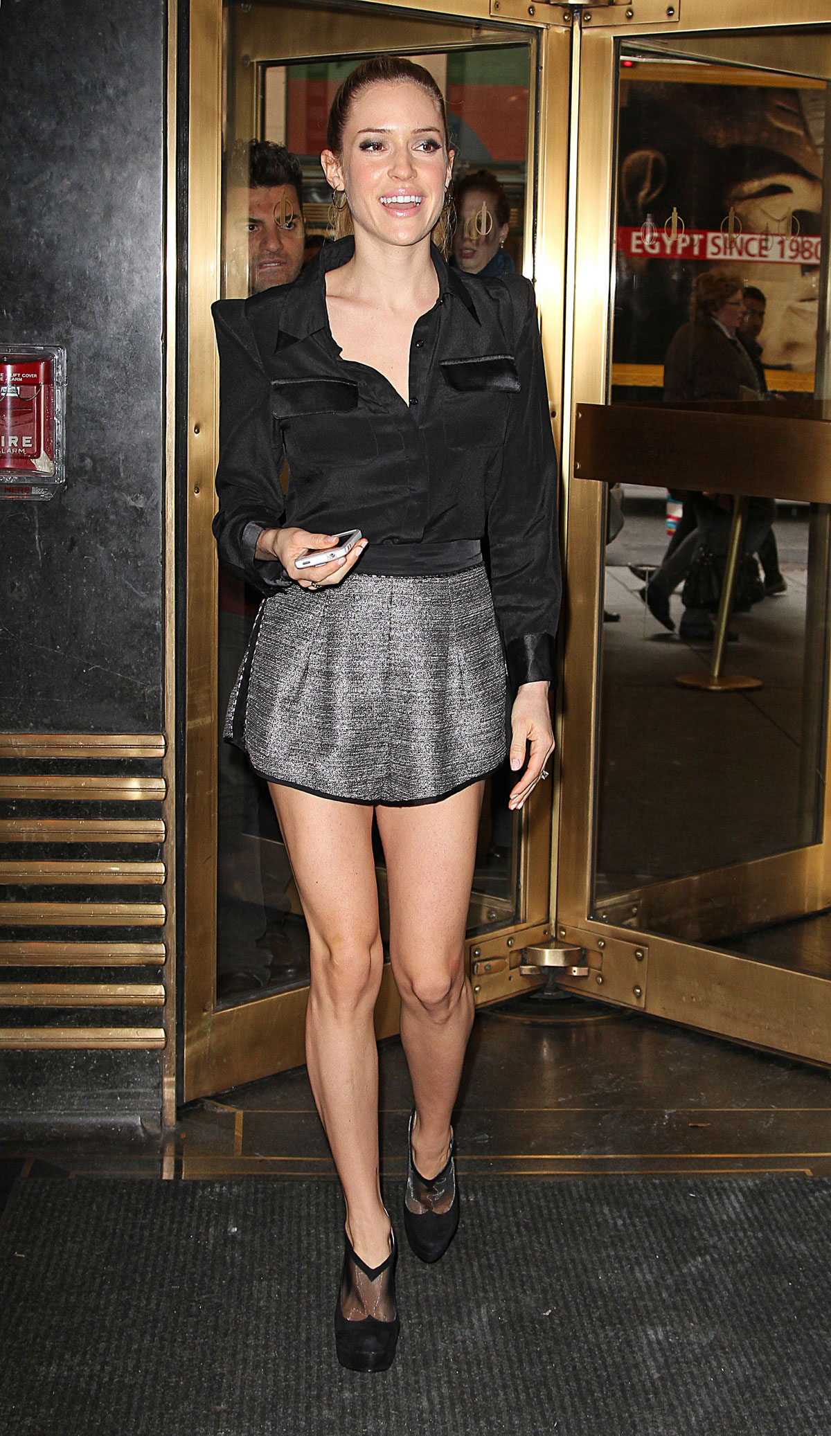 KRISTIN CAVALLARI in Short Skirt at New York Live Studios ...