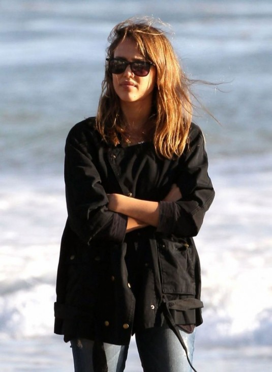 JESSICA ALBA Walking on the Beach in Malibu