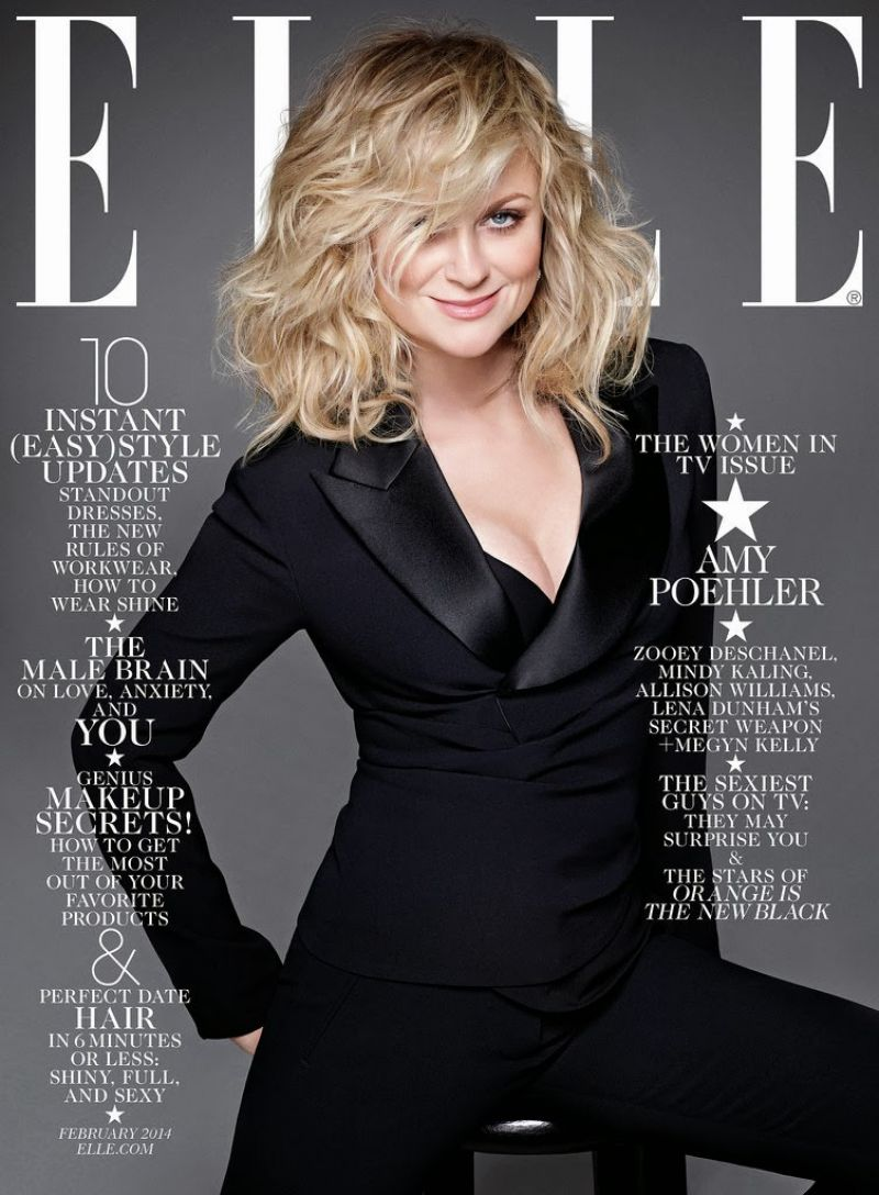 AMY POEHLER on the Cover of Elle Magazine, February 2014 Issue