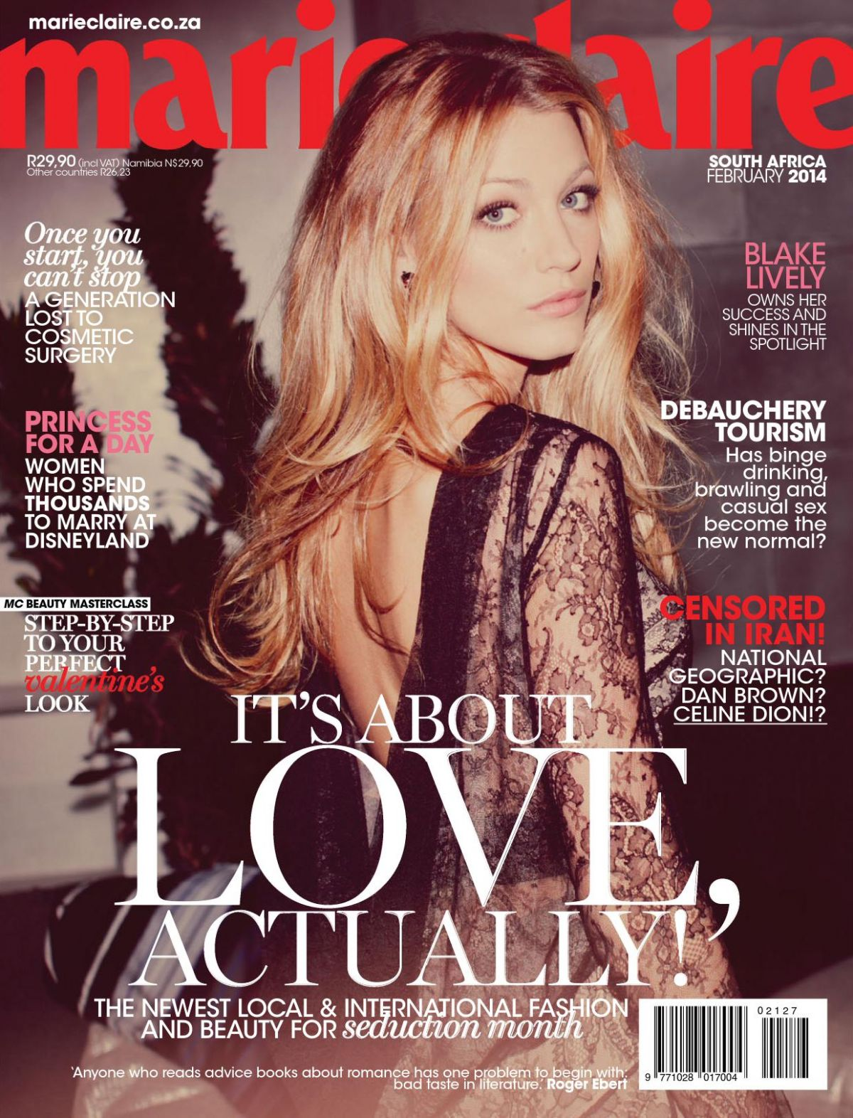 BLAKE LIVELY in Marie Claire Magazine, South Africa February 2014 Issue