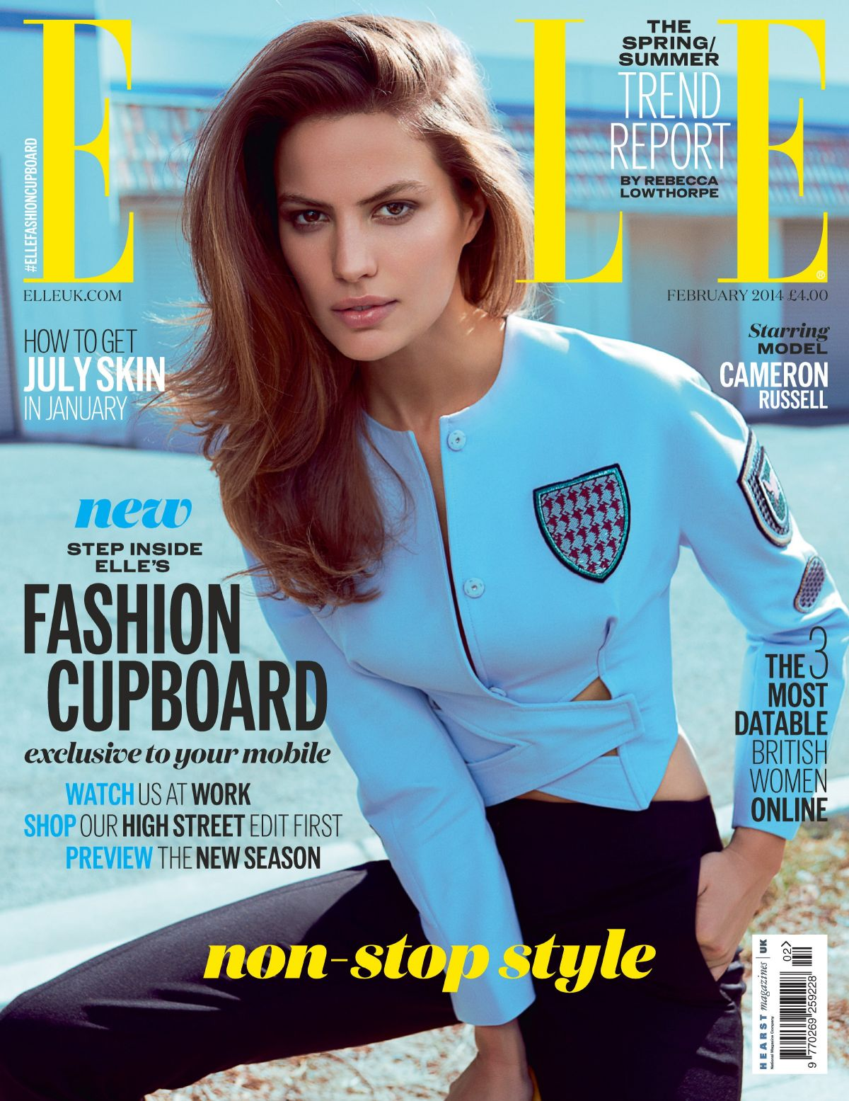 CAMERON RUSSELL on the Cover of Elle Magazine, UK February 2014 Issue