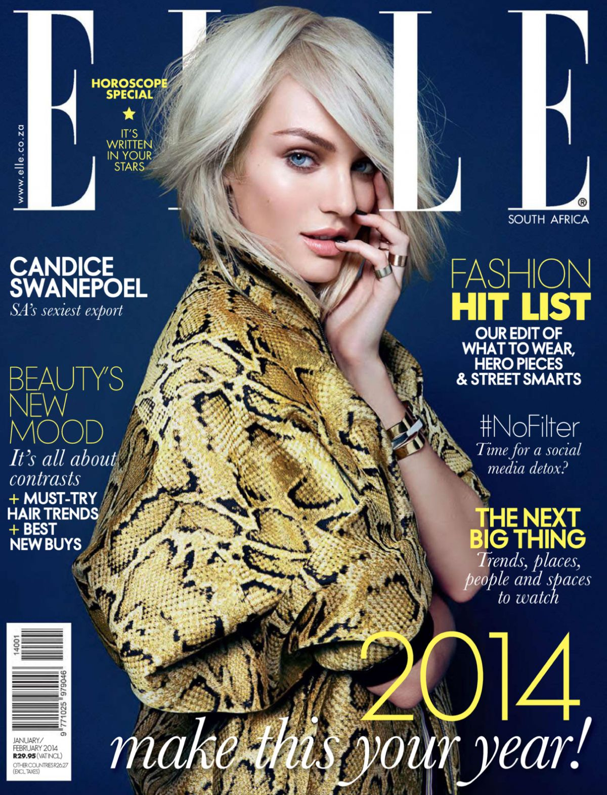 CANDICE SWANEPOEL in Elle Magazine, South Africa January 2014 Issue